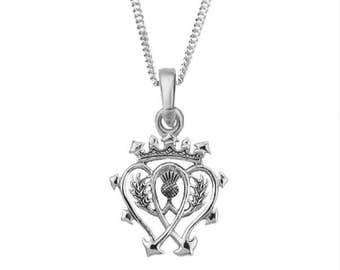 Sterling Silver Scottish Luckenbooth Necklace Size 27.0 mm x 18.0 mm inspired by Mary Queen of Scots
