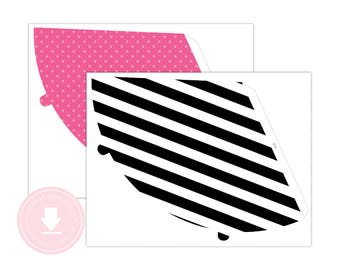 INSTANT DOWNLOAD Pink Party Hats (Flamingo Birthday, Black Party Hat, Printable Party Hats, Black Flamingo)