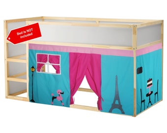 Paris Theme Bed Playhouse / Bed tent / Loft bed curtain - free design and colors customization
