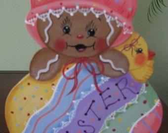 Easter, egg, gingerbread, Easter egg,  baby, chick, holidays, shelf sitter, handpainted, wood