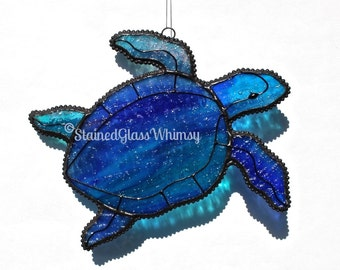 Stained Glass SEA TURTLE Suncatcher- Beautiful Wispy Cobalt Blues, Turquoise, White, with Raspberry, USA Handmade Original, Blue Sea Turtle
