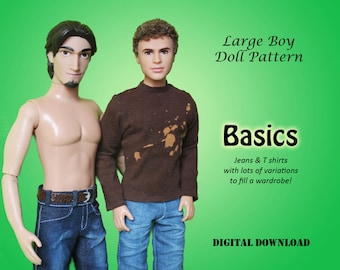 """Pants and Shirt doll clothes patterns for Large Boys: Ken, Princes, & 11.5"""" Fashion Doll"""