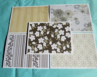 Browns and Tans Handmade Note Cards Thank You Cards Set of 5 with Envelopes