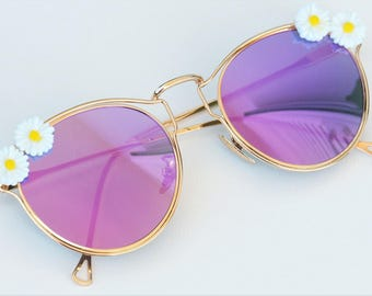 Decorated pink sunglasses Embellished mirrored retro Flat lens sun glasses Handmade Daisy Earthy Nature inspired Summer 2017 Cool Eyewear