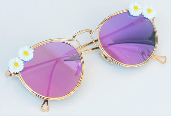 Decorated pink sunglasses Embellished mirrored retro Flat lens sun glasses Handmade Daisy Earthy Nature inspired Cool Eyewear clothing gifts
