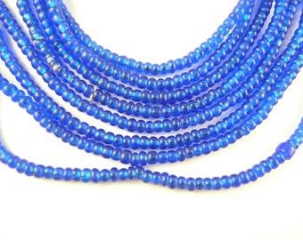 "21"" translucent indigo cobalt blue glass seed trade beads Africa tribal AA-0043"