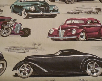 Chopped & Channeled Car Fabric - Vinatge Grey - Alexander Henry Fabric 1 Yard