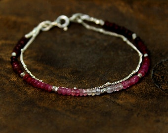 Ruby Bracelet. Ombre Beaded Bracelet. Double Layer Bracelet. Also in Emerald or Sapphire, Gold or Silver. B-2193-1