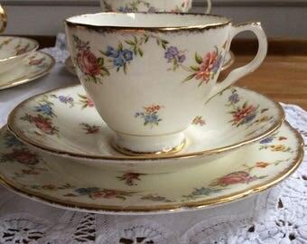 Vintage bone china floral tea cup trio