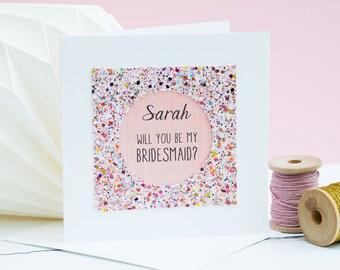 Will you be my bridesmaid card  - card for bridesmaid - Personalised be my bridesmaid card - maid of honour card - Custom bridesmaid card