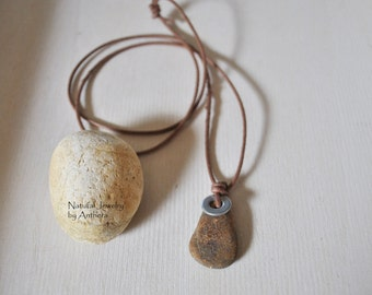 Unique men's necklace, river stone, natural jewelry, organic, zen, urban