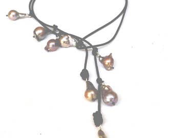 Large Baroque Pearl and Leather Necklace, Flameball Pearl Lariat  Wrap Necklace ARTISAN HANDMADE by Sheri Beryl