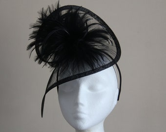 Black Sinamay and Feather Fascinator Formal Hat, on a hairband wedding, races Melbourne Cup, Kentucky Derby, Ascot