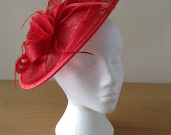 Red Oval Disc Sinamay Feather Fascinator on crocodile clip races, weddings, Kentucky Derby, Royal Ascot, Melbourne Cup
