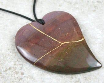 Kintsugi (kintsukuroi) Indian agate stone heart pendant with gold repair on black cotton cord - OOAK