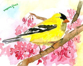 ACEO Limited Edition 2/25- Spring returns, Goldfinch, Bird art print of an ACEO watercolor by Anna Lee, Goldfinch, Gift for bird lovers