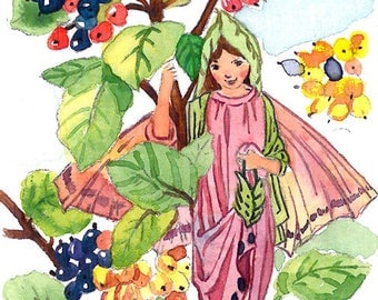 ACEO Limited Edition 1/25-Wayfaring-tree fairy inspired by Cicely Mary Barker,Flower fairy art print of original ACEO watercolor