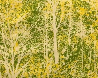 Cotton Fabric / Landscape Fabric / Yellow and Green Fabric / Positive and Negative Art Fabric / Reverse Negative / Medium Weight Cotton