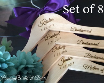 Bridesmaid gift, Wedding dress hanger, Wooden Engraved HangerCustom Bridal Hangers, Wedding hangers with names,Custom made hangers