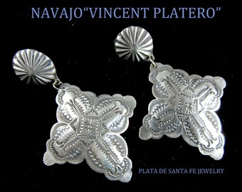 VINCENT PLATERO~Heavily Stamped~Traditional Navajo~Matte 925~Cross Earrings