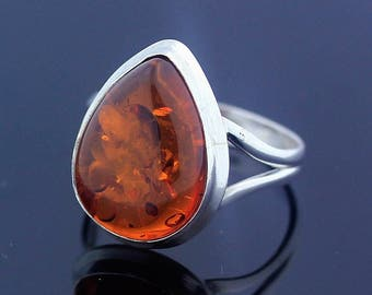 Handmade Honey Amber Ring // 925 Sterling Silver Ring Size 7.5 Jewelry - R80