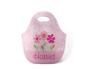 Personalized Lunch Tote - Flower Garden - Custom Lunch tote for Children