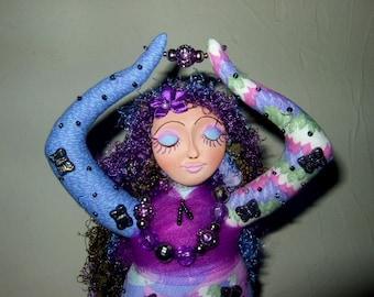 Art Doll, Meditation, beaded doll, cloth doll, spirit, spirit doll, goddess, goddess doll, butterfly, butterflies