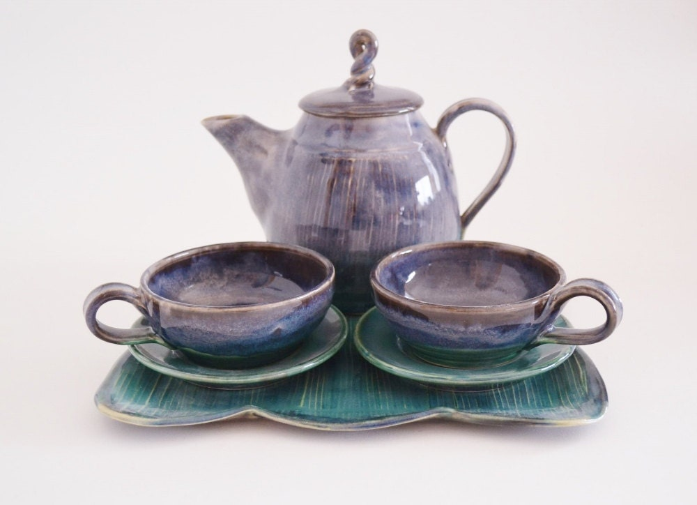 Handmade tea set with tray purple green tea pot with tea Green tea pot set
