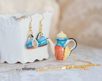 Cute shabby chic jewelry set, miniature teacup earrings, teapot pendant, blue orange yellow, miniature porcelain tea cups dainty jewelry set