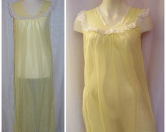 SALE DEADSTOCK Vintage Nightgown 1960s Sheer Nylon Long Nightie Yellow with Lace 36 chest