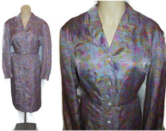 SALE Vintage 1960s Sheath Dress Mod Purple Pink Blue Dot Pattern Impressionist Silky Fabric Mod Shirt Dress XL chest to 46 in