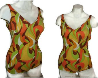 SALE Vintage 1960s 70s Bathing Suit Psychedelic Print Swimsuit Green Yellow Orange One Piece Groovy Cool M chest to 38 in