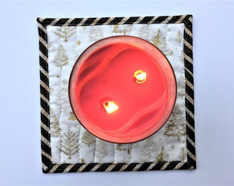 Christmas Candle Mat, Quilted Candle Holder, Winter Mug Rug Coaster, Free Shipping, Ready to Ship, Housewarming Gift Black Gold White