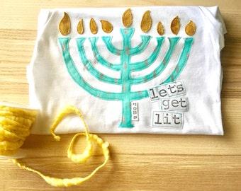 "Swanky Shank Menorah Hanukkah shirt ""Let's Get Lit"""