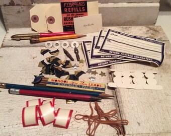 Vintage Office Supplies, Postal Labels, Dennison Labels, Desk Supplies, Pencils, Props, Industrial, Ephemera, Old Paper, All Vintage Man