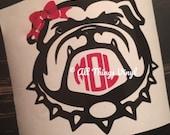 Georgia Bulldog monogram decal vinyl sticker for yeti cup, laptop sticker car decal