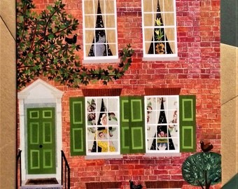 Charles Dickens Greeting Card, Writers Houses, Portsmouth, British, English Literature, Card for Booklovers, Naive Art, Amanda White Design