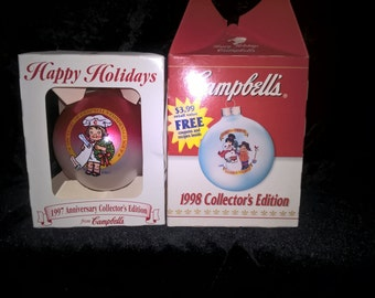 Campbell Soup Christmas Ornaments Set of 2