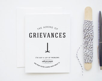 The Airing of Grievances - Seinfeld parody holiday Christmas Festivus greeting card
