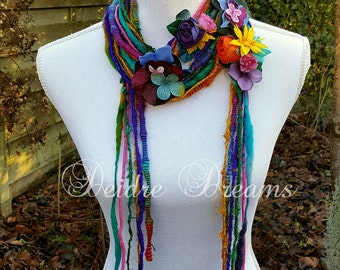 Rainbow Scarf, Hippie Scarf, Flower Scarf, Long Fringe Scarf, Art Yarn Scarf, Lariat Scarf, Flower Garland, Eco Chic, Bohemian Fashion