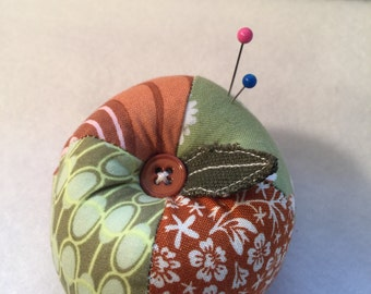Patchwork Apple Pin Cushion in Green and Clay