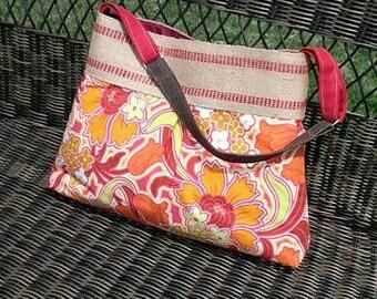 Orange and Red  Floral Handbag Purse Tote Bag with Jute Webbing