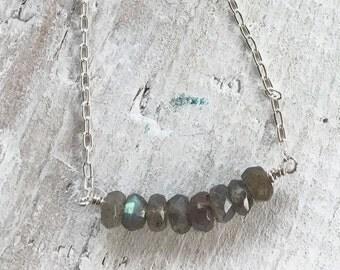 Labradorite Smile Necklace - Strength, Transformation - 2nd Chakra - ZEN Jewelry