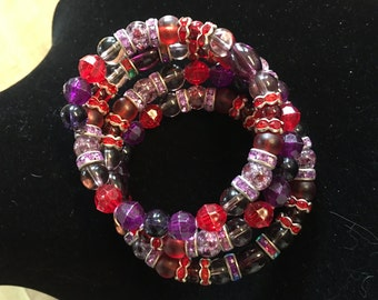Berry Spiral Bracelet - Adult Reds, Purples, Pinks, Rainbow