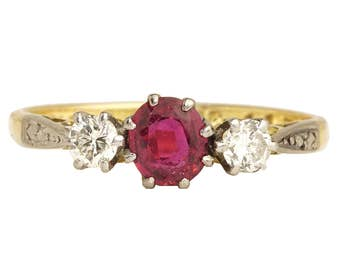 Vintage 18K Ruby Ring, Antique Ruby Ring, Ruby Diamond Ring, Ruby Engagement Ring, Natural Ruby, Ruby Ring, Vintage Ruby Ring, Ruby