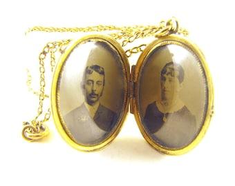 Victorian Photo Locket Pendant Necklace Early 20th Century Keepsake Locket Period Photos Under Glass Inserts
