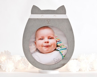 Gray Picture Frame, Cat Lover Gift, Gray Nursery Decor, Baby Shower Gift, Newborn Gift, Baby Boy Gift, Mom Gift, Cat Photo Frame
