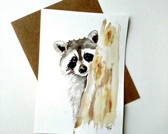 Raccoon painting Watercolor Card - Original Watercolor Fine Art , nursery decor, animal art painting, wall art, watercolor