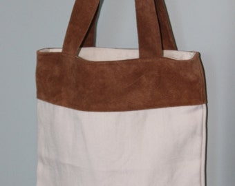 Handmade White Linen Tote Bag with Brown Leather Detail