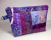 Fabric Clutch Bag, Unique Zipper Handbag, Toiletry Case, Modern Pouch Cute Cosmetic Makeup Storage, Purple Lavender Amethyst Diaper Tote